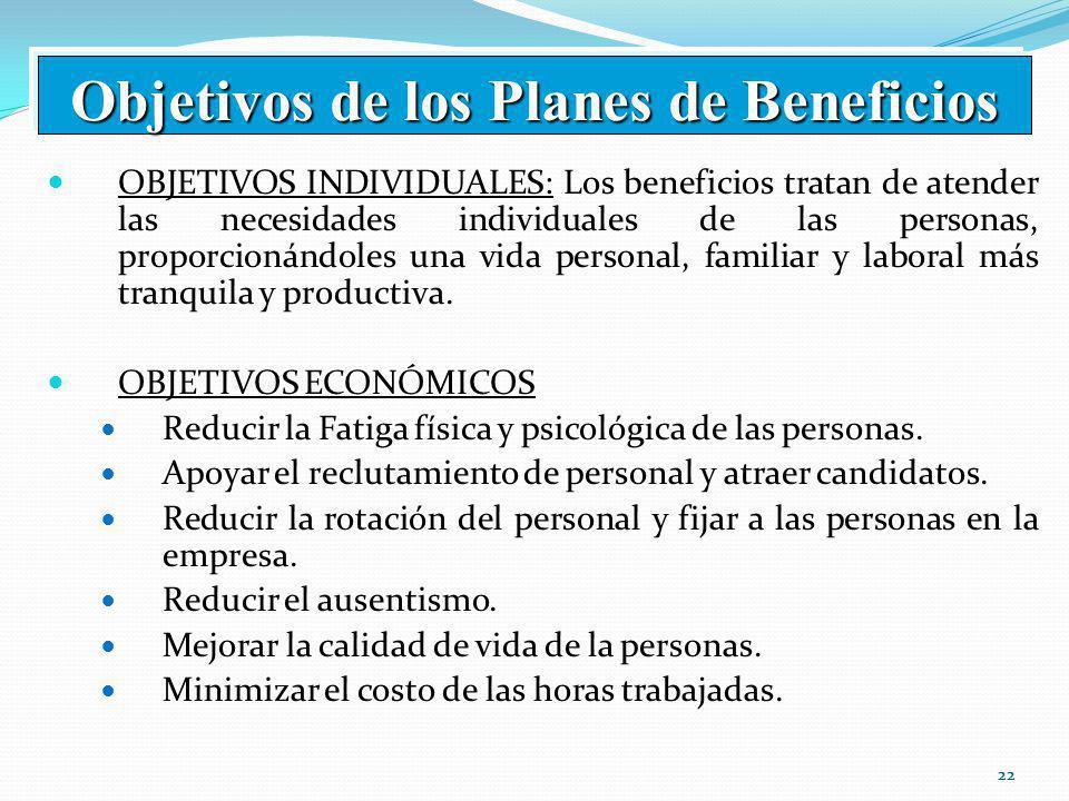 22 OBJETIVOS INDIVIDUALES: Los beneficios tratan de atender las necesidades individuales de las personas, proporcionándoles una vida personal, familiar y laboral más tranquila y productiva.