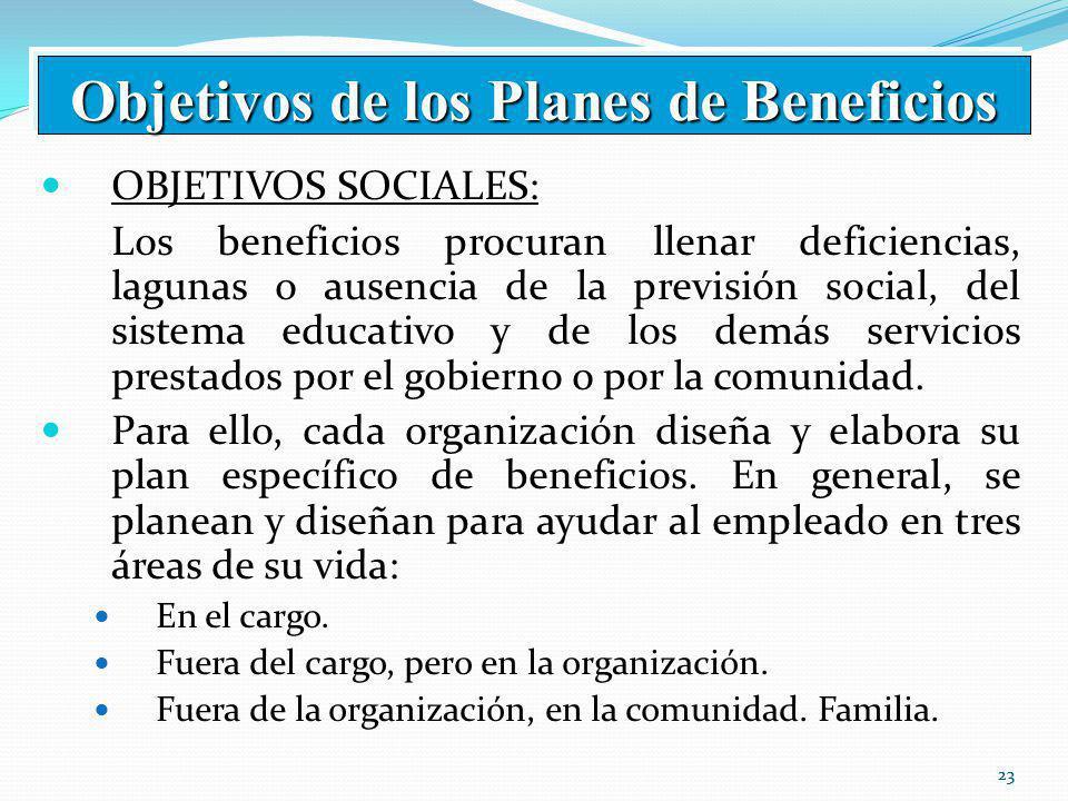 23 OBJETIVOS SOCIALES: Los beneficios procuran llenar deficiencias, lagunas o ausencia de la previsión social, del sistema educativo y de los demás servicios prestados por el gobierno o por la comunidad.