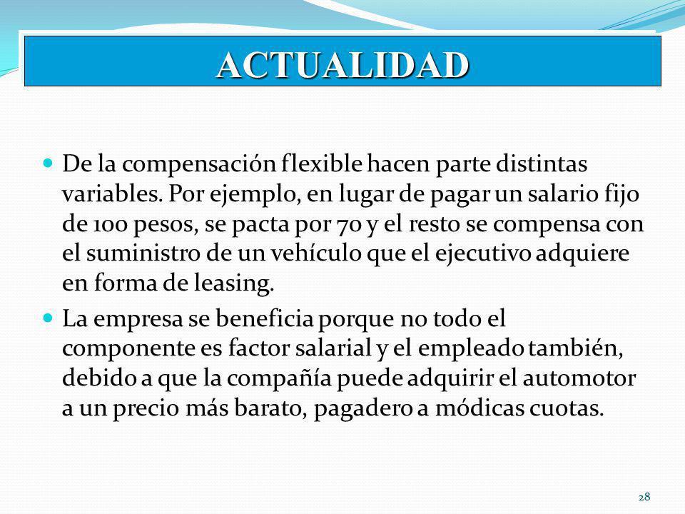 28 ACTUALIDAD De la compensación flexible hacen parte distintas variables.