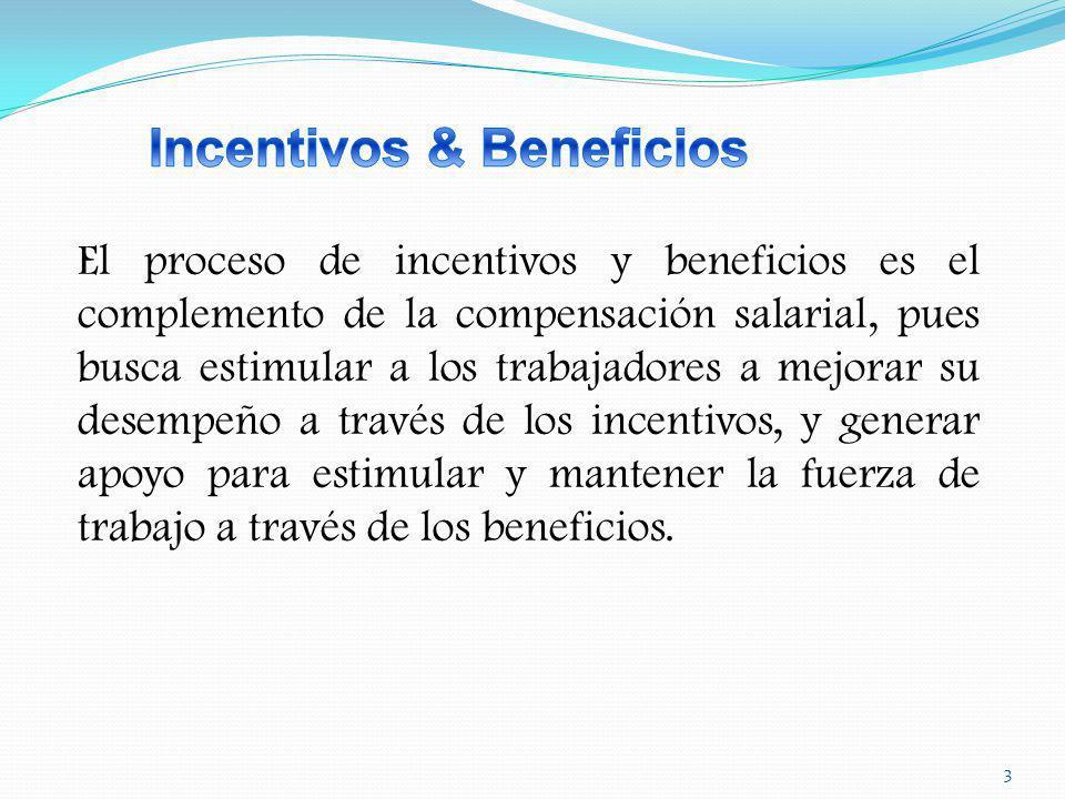 3 El proceso de incentivos y beneficios es el complemento de la compensación salarial, pues busca estimular a los trabajadores a mejorar su desempeño a través de los incentivos, y generar apoyo para estimular y mantener la fuerza de trabajo a través de los beneficios.
