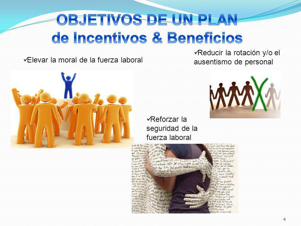 4 Elevar la moral de la fuerza laboral Reducir la rotación y/o el ausentismo de personal Reforzar la seguridad de la fuerza laboral