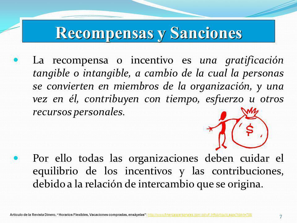 77 La recompensa o incentivo es una gratificación tangible o intangible, a cambio de la cual la personas se convierten en miembros de la organización, y una vez en él, contribuyen con tiempo, esfuerzo u otros recursos personales.