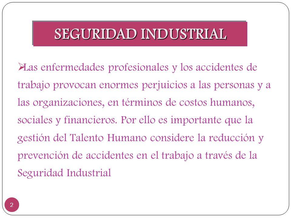 SEGURIDAD INDUSTRIAL 2 2 Las enfermedades profesionales y los accidentes de trabajo provocan enormes perjuicios a las personas y a las organizaciones,