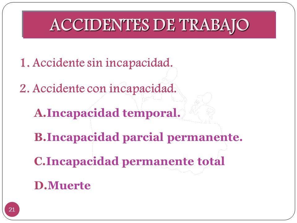 ACCIDENTES DE TRABAJO 21 1. 1. Accidente sin incapacidad. 2. Accidente con incapacidad. A.Incapacidad temporal. B.Incapacidad parcial permanente. C.In