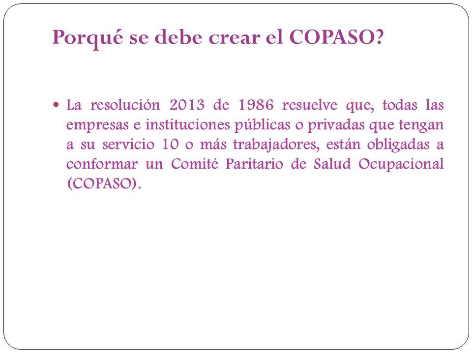 Porqué se debe crear el COPASO? La resolución 2013 de 1986 resuelve que, todas las empresas e instituciones públicas o privadas que tengan a su servic