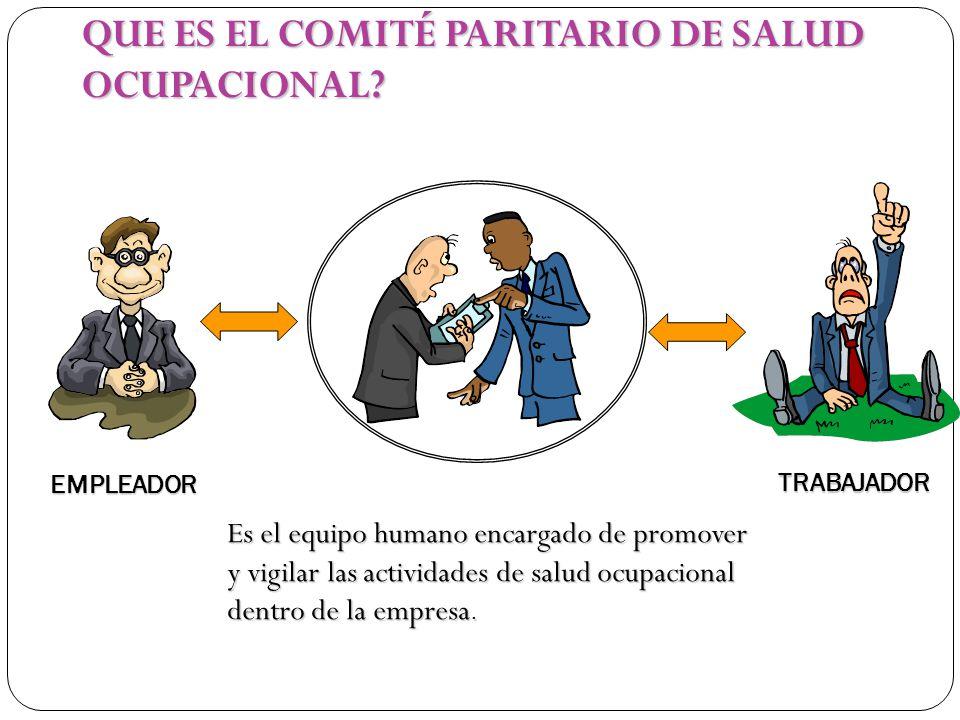 TRABAJADOR EMPLEADOR Es el equipo humano encargado de promover y vigilar las actividades de salud ocupacional dentro de la empresa. QUE ES EL COMITÉ P