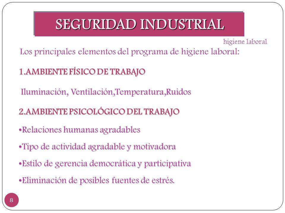 SEGURIDAD INDUSTRIAL 8 8 Los principales elementos del programa de higiene laboral: 1.AMBIENTE FÍSICO DE TRABAJO Iluminación, Ventilación,Temperatura,