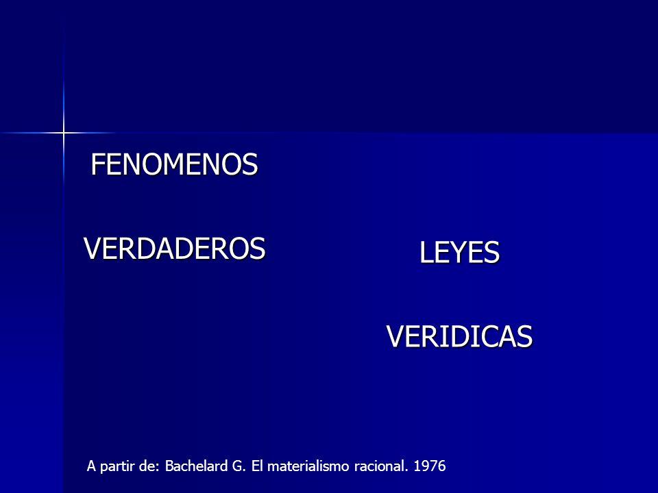 FENOMENOSVERDADEROS LEYESVERIDICAS A partir de: Bachelard G. El materialismo racional. 1976