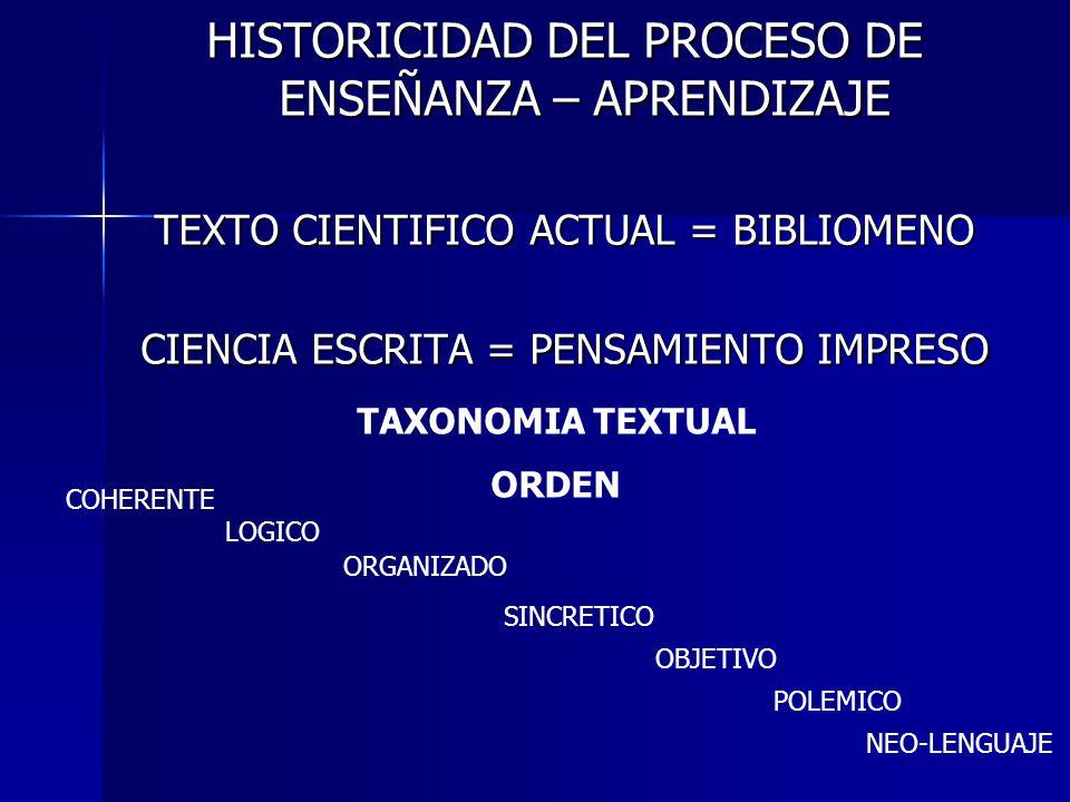 HISTORICIDAD DEL PROCESO DE ENSEÑANZA – APRENDIZAJE TEXTO CIENTIFICO ACTUAL = BIBLIOMENO CIENCIA ESCRITA = PENSAMIENTO IMPRESO TAXONOMIA TEXTUAL ORDEN
