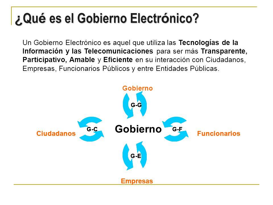 Un Gobierno Electrónico es aquel que utiliza las Tecnologías de la Información y las Telecomunicaciones para ser más Transparente, Participativo, Amable y Eficiente en su interacción con Ciudadanos, Empresas, Funcionarios Públicos y entre Entidades Públicas.
