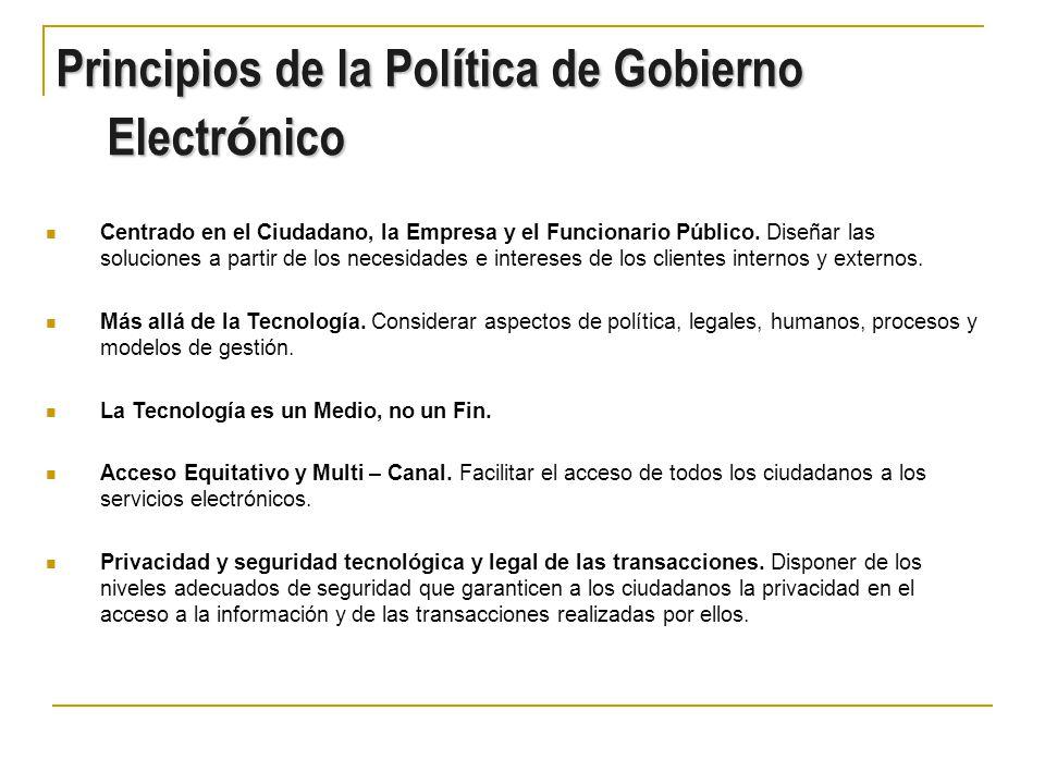 Evoluci ó n del Gobierno Electr ó nico en Colombia Grado de Valor para los Ciudadanos Transacciones Multi-Canal Información en Internet Interacción Simple en Internet 2000 - 2001 Integración y Transformación Grado de Complejidad de Implementación y de Requerimientos Tecnológicos 100% Entidades Gobierno Nacional con Sitio Internet de Información estándar.