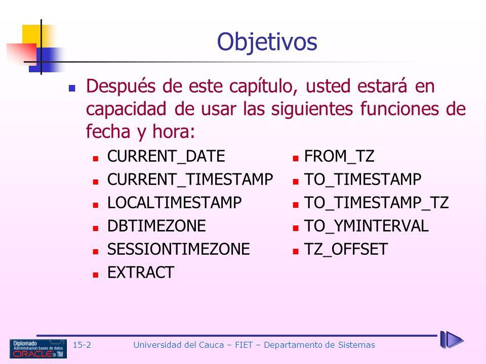 15-2 Universidad del Cauca – FIET – Departamento de Sistemas Después de este capítulo, usted estará en capacidad de usar las siguientes funciones de f