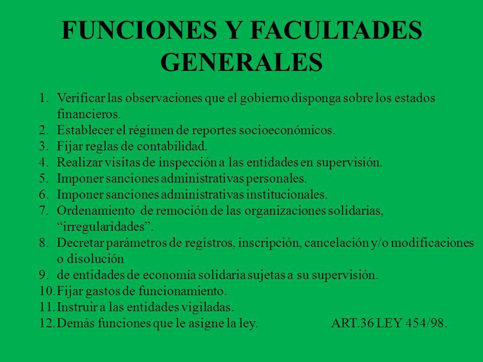 FUNCIONES Y FACULTADES GENERALES 1.Verificar las observaciones que el gobierno disponga sobre los estados financieros.