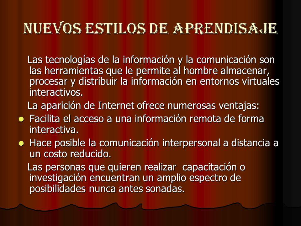 NUEVOS ESTILOS DE APRENDISAJE Las tecnologías de la información y la comunicación son las herramientas que le permite al hombre almacenar, procesar y