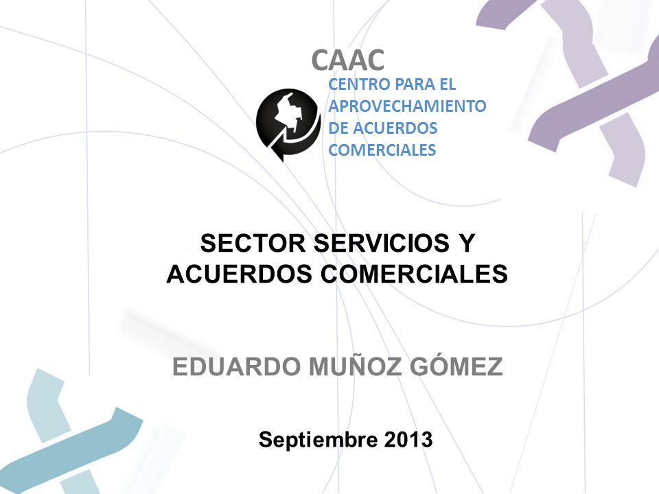 SECTOR SERVICIOS Y ACUERDOS COMERCIALES EDUARDO MUÑOZ GÓMEZ Septiembre 2013 CAAC CENTRO PARA EL APROVECHAMIENTO DE ACUERDOS COMERCIALES