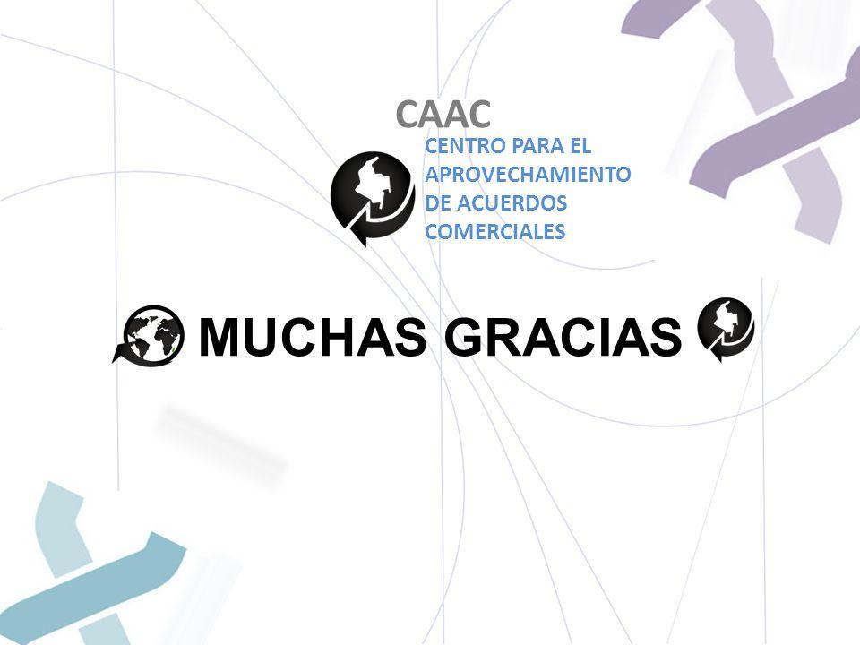 MUCHAS GRACIAS CAAC CENTRO PARA EL APROVECHAMIENTO DE ACUERDOS COMERCIALES