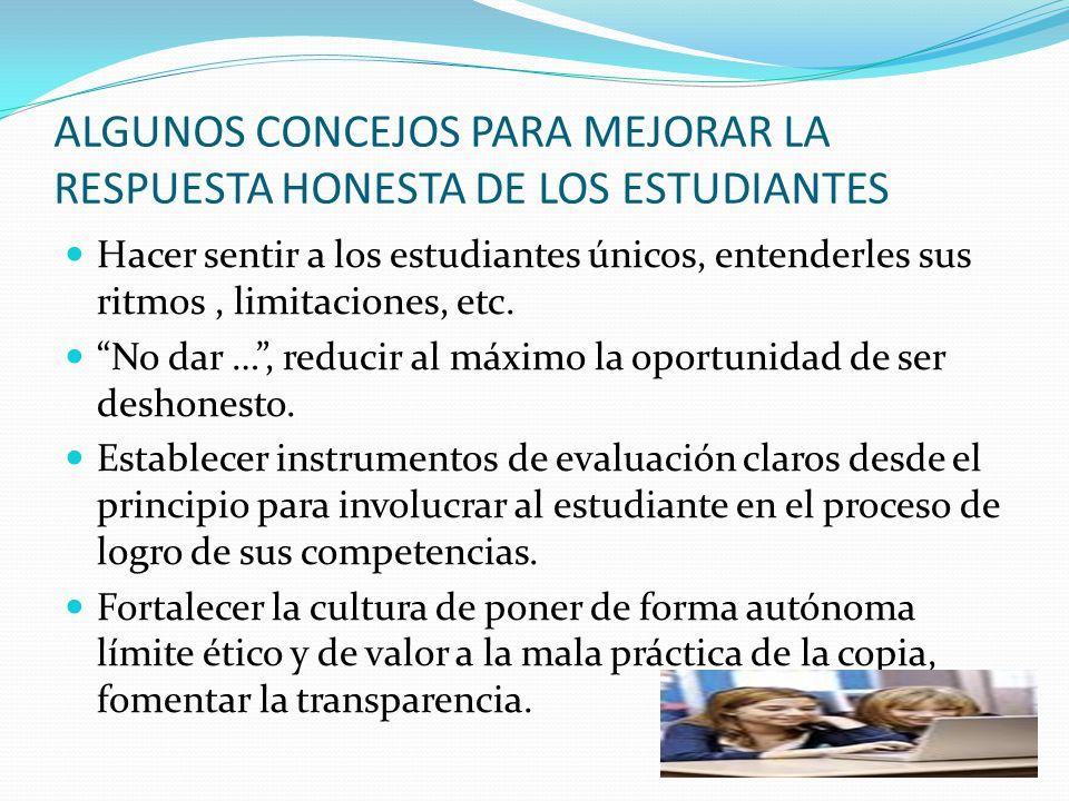 ALGUNOS CONCEJOS PARA MEJORAR LA RESPUESTA HONESTA DE LOS ESTUDIANTES Promover un ambiente de confianza. Afirmar la importancia de la honestidad desde