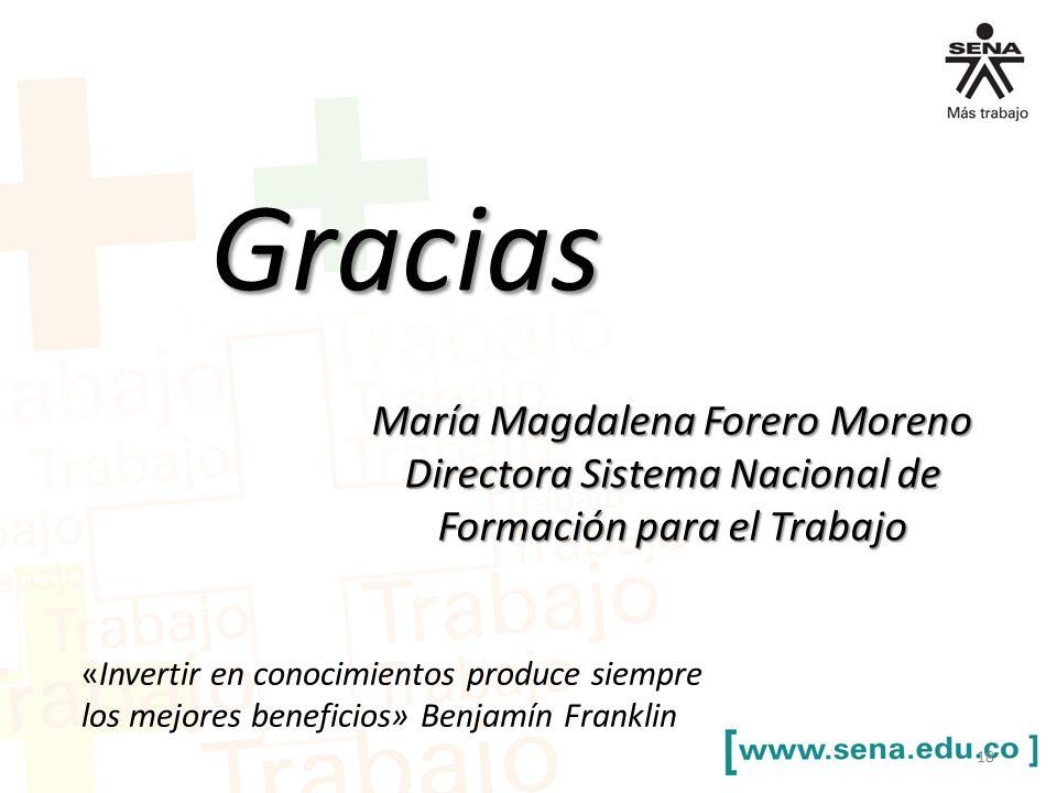 María Magdalena Forero Moreno Directora Sistema Nacional de Formación para el Trabajo 18 Gracias «Invertir en conocimientos produce siempre los mejores beneficios» Benjamín Franklin