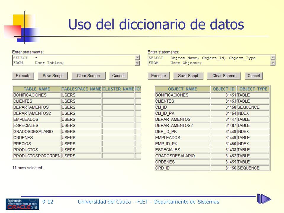 9-12 Universidad del Cauca – FIET – Departamento de Sistemas Uso del diccionario de datos
