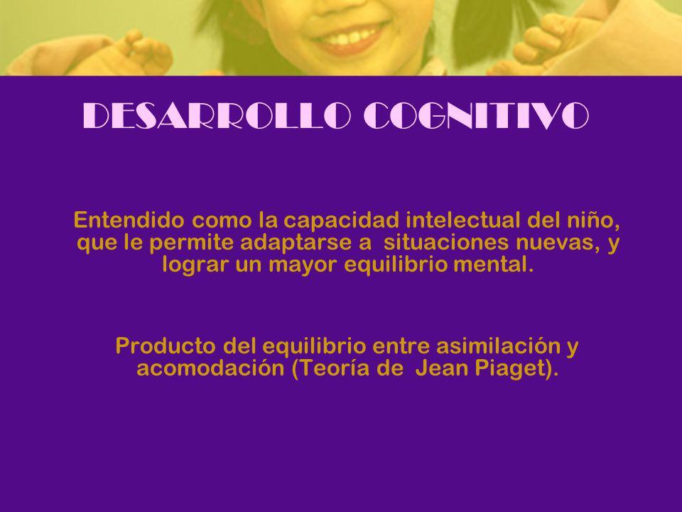 DESARROLLO COGNITIVO Entendido como la capacidad intelectual del niño, que le permite adaptarse a situaciones nuevas, y lograr un mayor equilibrio mental.
