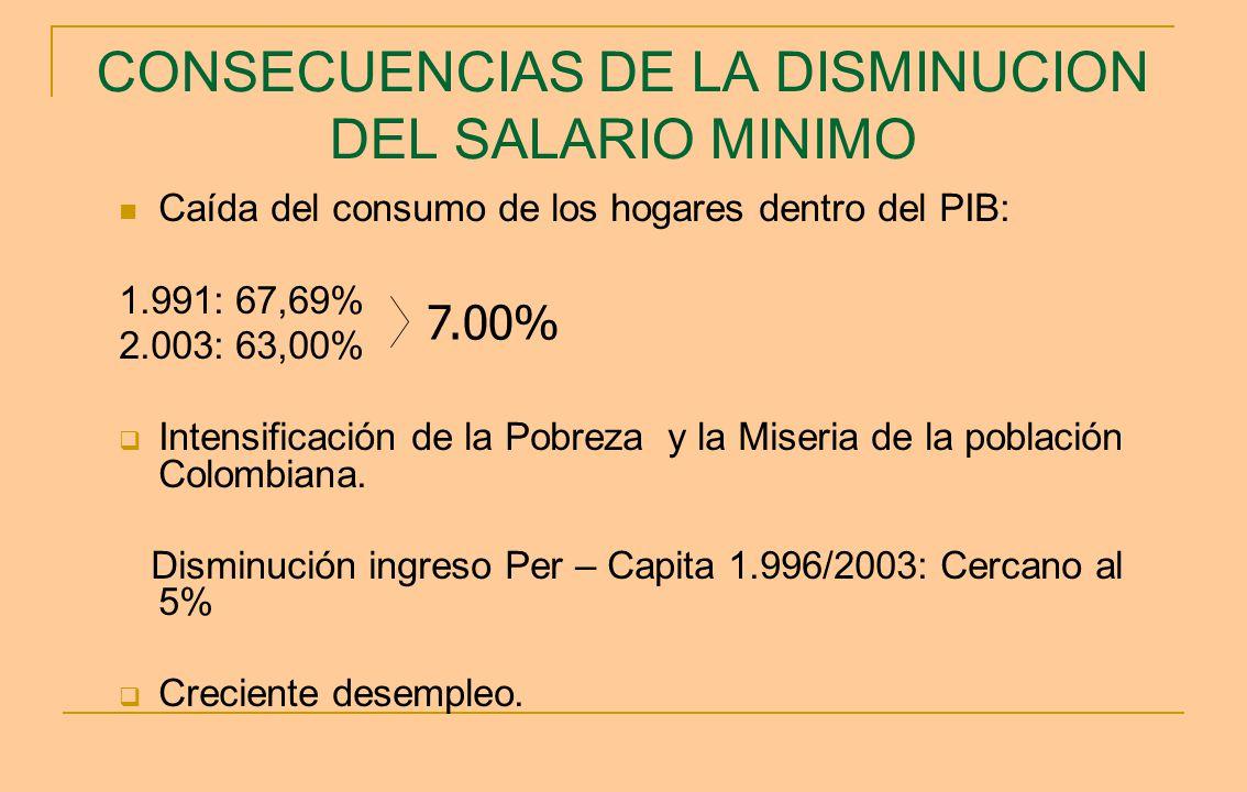 CONSECUENCIAS DE LA DISMINUCION DEL SALARIO MINIMO Caída del consumo de los hogares dentro del PIB: 1.991: 67,69% 2.003: 63,00% Intensificación de la