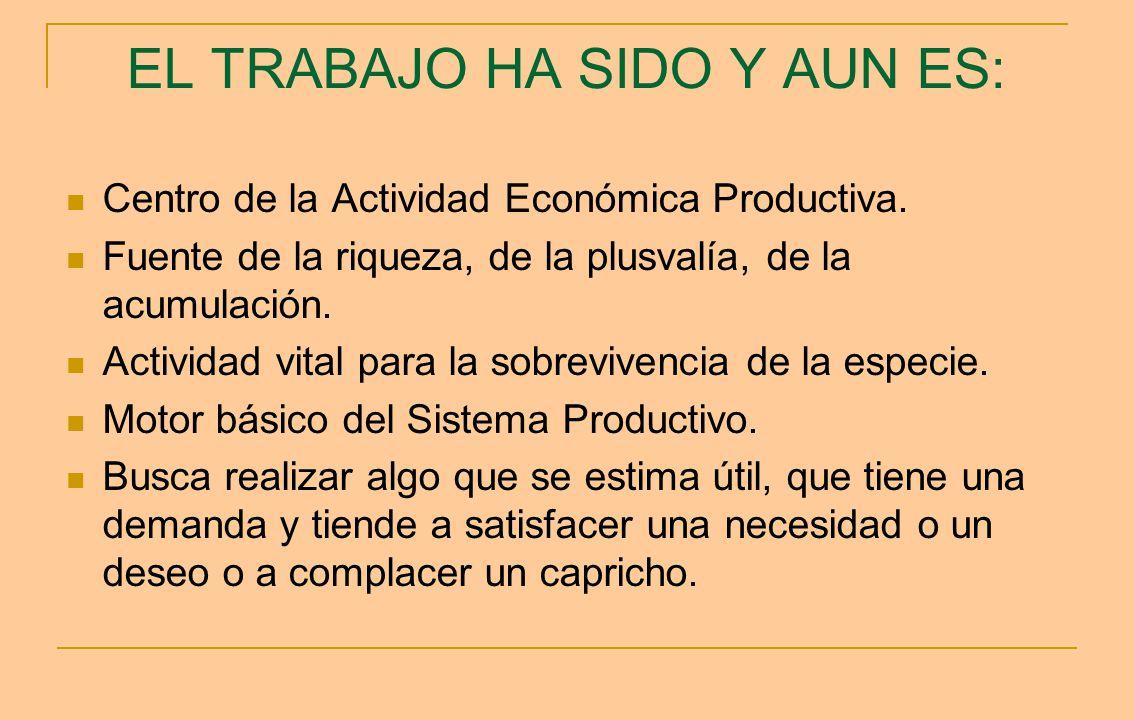 EL TRABAJO HA SIDO Y AUN ES: Centro de la Actividad Económica Productiva. Fuente de la riqueza, de la plusvalía, de la acumulación. Actividad vital pa