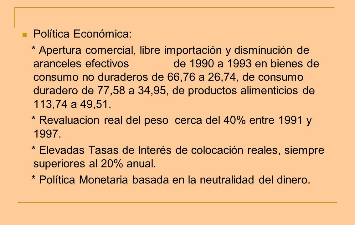 Política Económica: * Apertura comercial, libre importación y disminución de aranceles efectivos de 1990 a 1993 en bienes de consumo no duraderos de 6