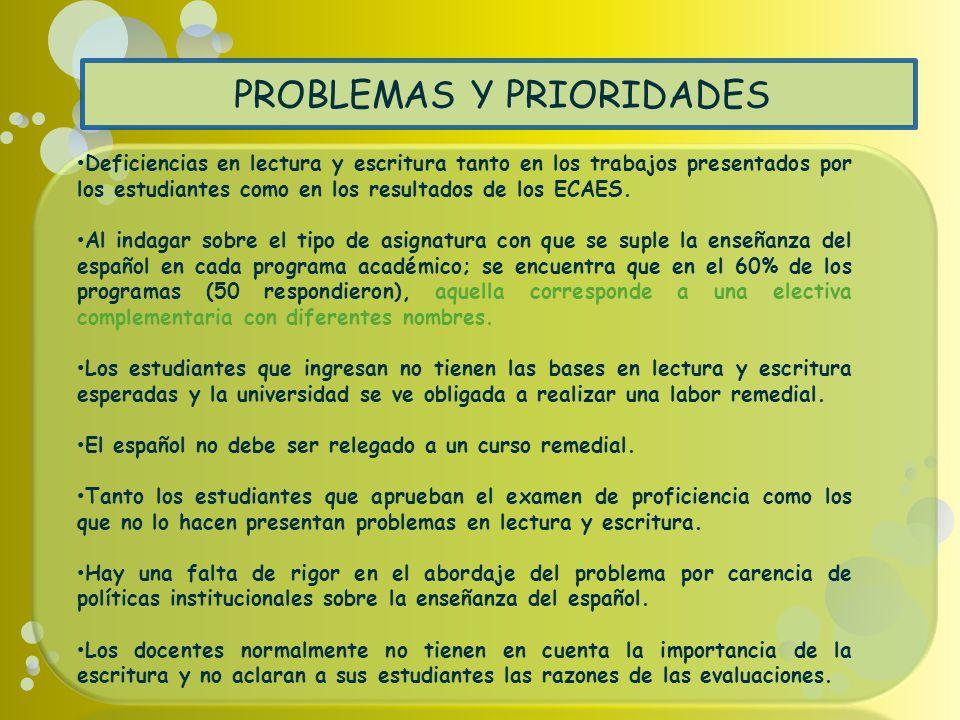 PROBLEMAS Y PRIORIDADES Deficiencias en lectura y escritura tanto en los trabajos presentados por los estudiantes como en los resultados de los ECAES.
