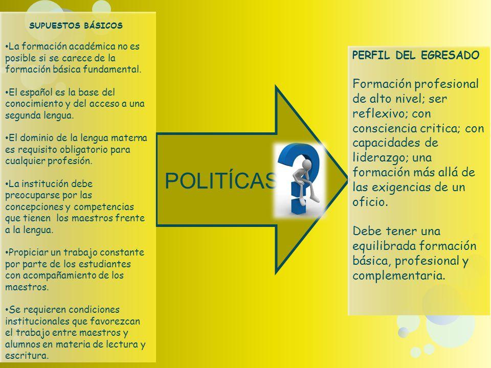POLITÍCAS SUPUESTOS BÁSICOS La formación académica no es posible si se carece de la formación básica fundamental.