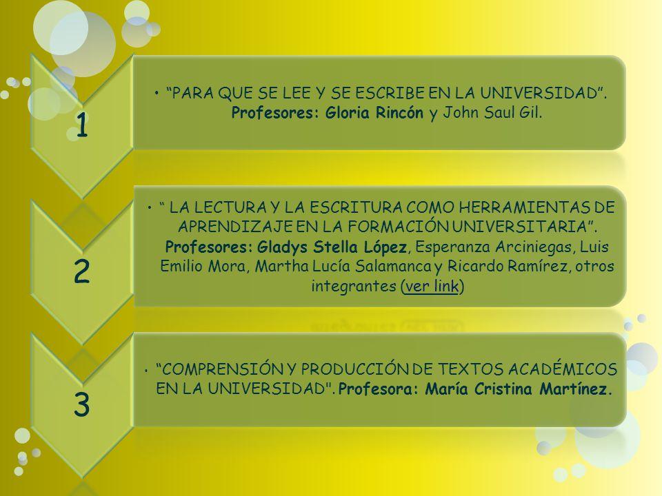 1 PARA QUE SE LEE Y SE ESCRIBE EN LA UNIVERSIDAD.Profesores: Gloria Rincón y John Saul Gil.