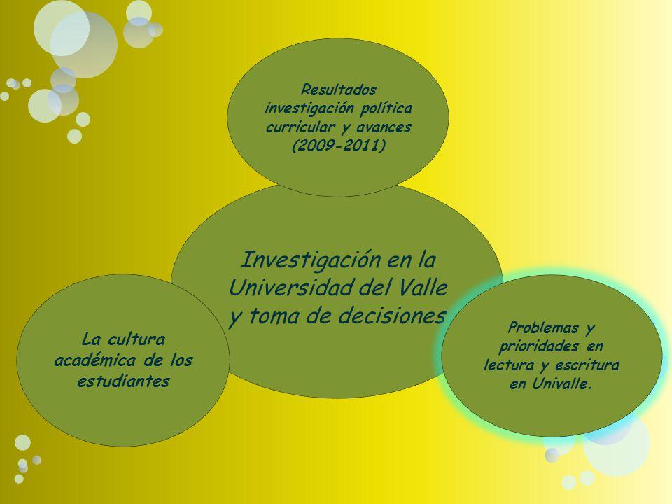 grupos de investigación sobre lectura y escritura en Univalle Proyectos específicos y experiencias significativas