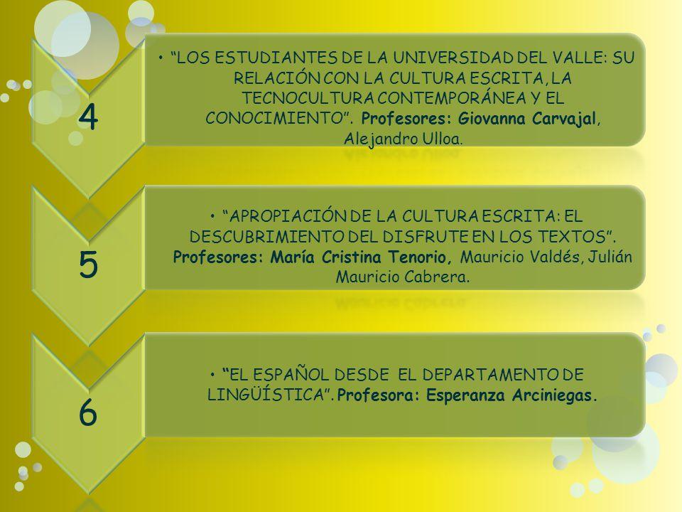 4 LOS ESTUDIANTES DE LA UNIVERSIDAD DEL VALLE: SU RELACIÓN CON LA CULTURA ESCRITA, LA TECNOCULTURA CONTEMPORÁNEA Y EL CONOCIMIENTO.