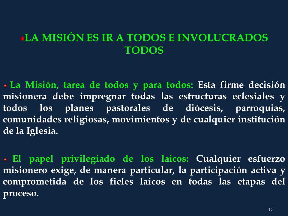 12 2.2 PEDAGOGÍA DE LA ACCIÓN MISIÓN CONTINENTAL ASPECTOS DE UN PROCESO EVANGELIZADOR El encuentro con Jesucristo, la Conversión, el Discipulado, la C
