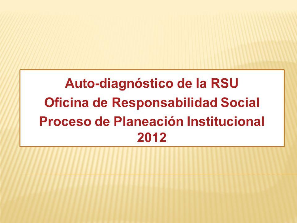 Auto-diagnóstico de la RSU Oficina de Responsabilidad Social Proceso de Planeación Institucional 2012