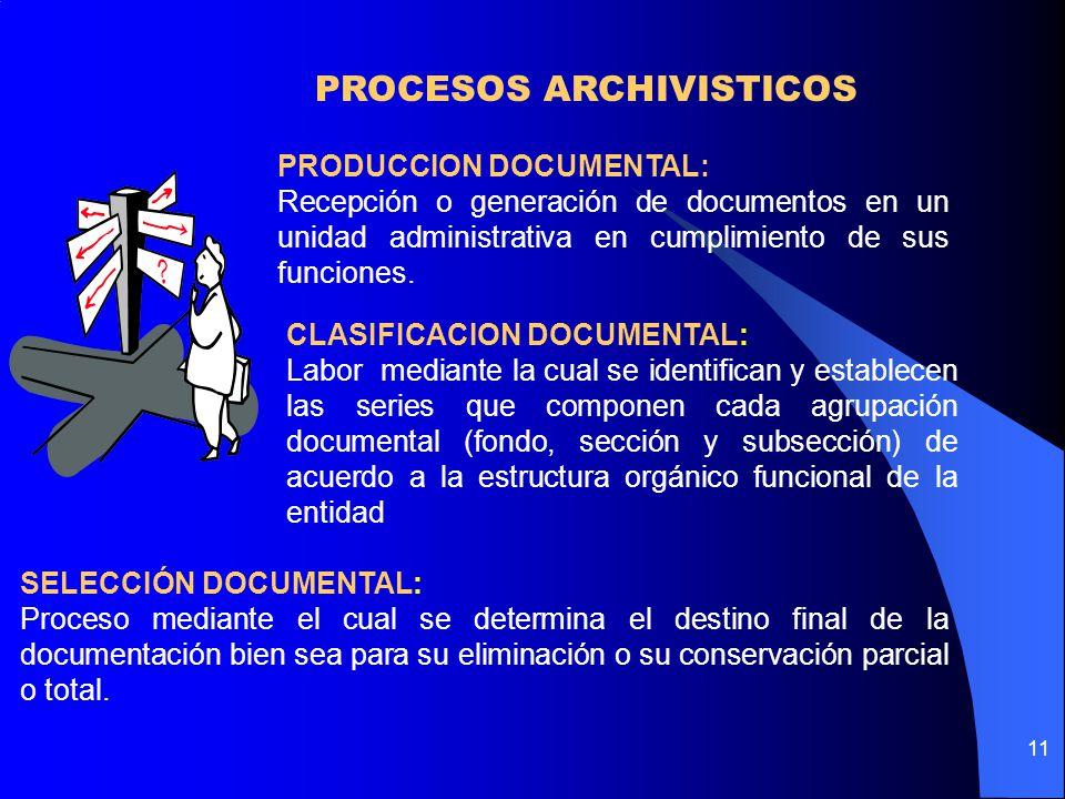11 PRODUCCION DOCUMENTAL: Recepción o generación de documentos en un unidad administrativa en cumplimiento de sus funciones.