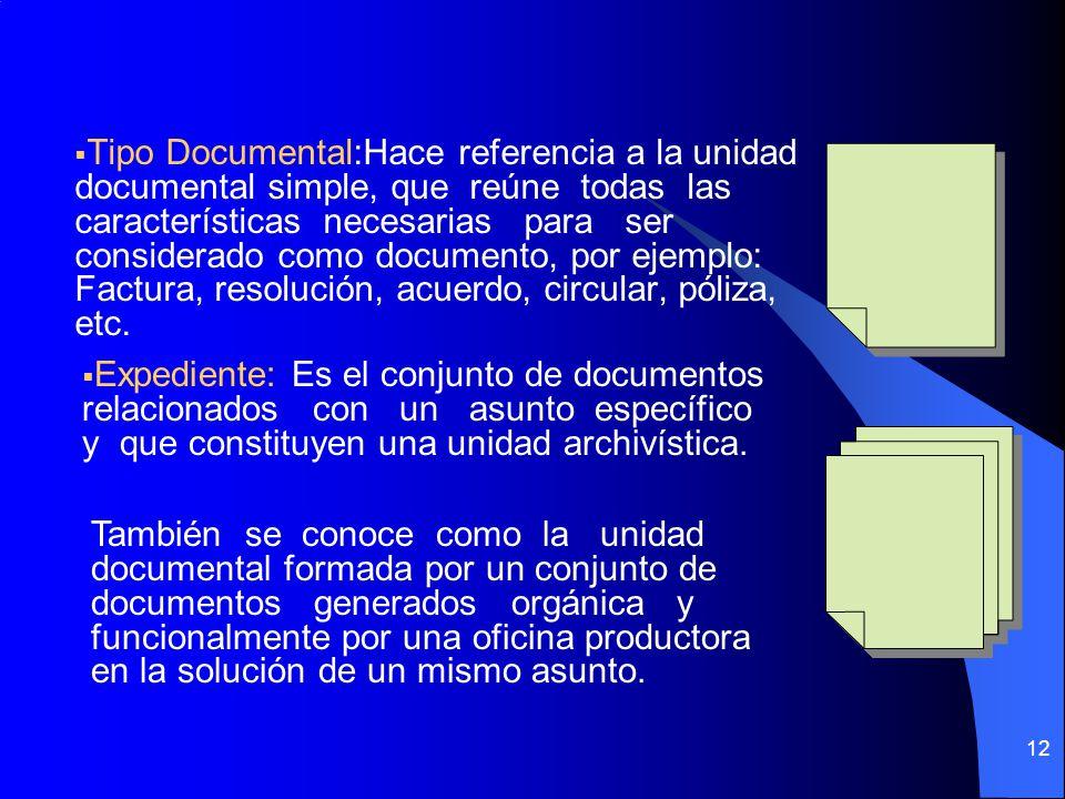 12 Tipo Documental:Hace referencia a la unidad documental simple, que reúne todas las características necesarias para ser considerado como documento, por ejemplo: Factura, resolución, acuerdo, circular, póliza, etc.