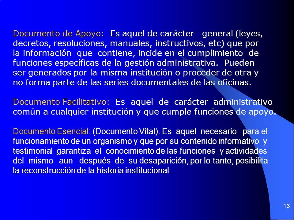 12 Tipo Documental:Hace referencia a la unidad documental simple, que reúne todas las características necesarias para ser considerado como documento,
