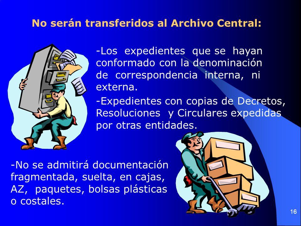 16 No serán transferidos al Archivo Central: -Los expedientes que se hayan conformado con la denominación de correspondencia interna, ni externa.