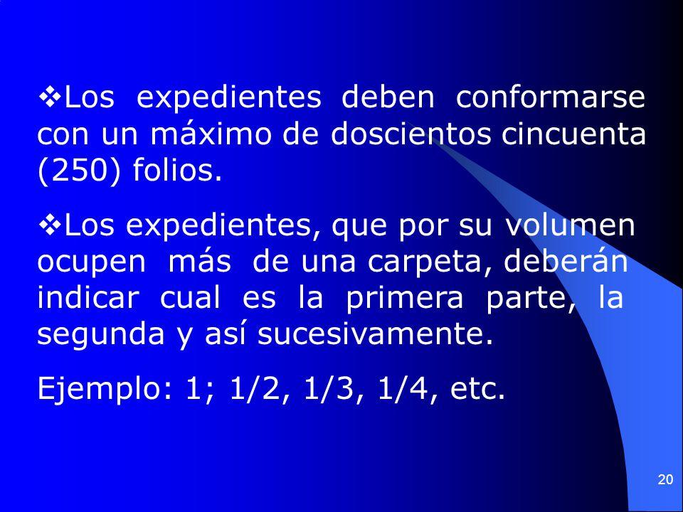 20 Los expedientes deben conformarse con un máximo de doscientos cincuenta (250) folios.