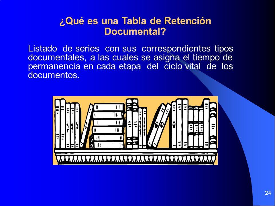 24 Listado de series con sus correspondientes tipos documentales, a las cuales se asigna el tiempo de permanencia en cada etapa del ciclo vital de los documentos.