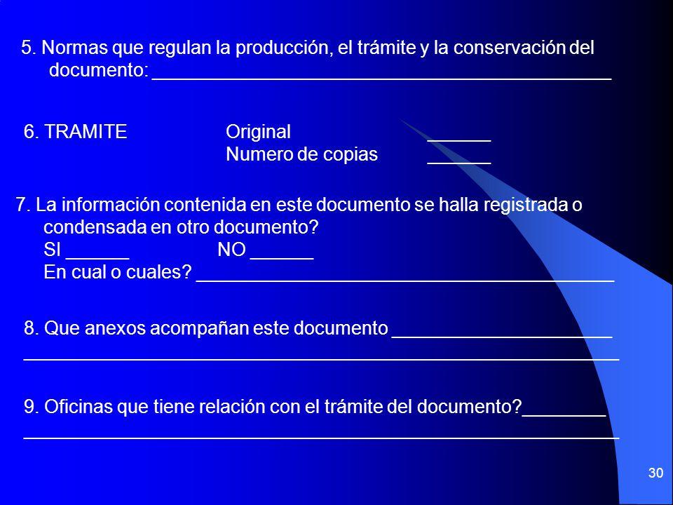 29 II. DOCUMENTOS 1. Oficina Productora: ________________________________________ 2. Nombre del Documento: ____________________________________ 3. Fun