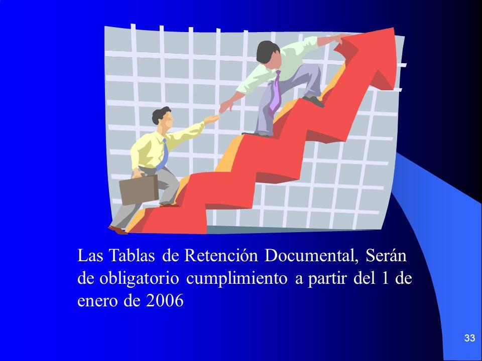 33 Las Tablas de Retención Documental, Serán de obligatorio cumplimiento a partir del 1 de enero de 2006