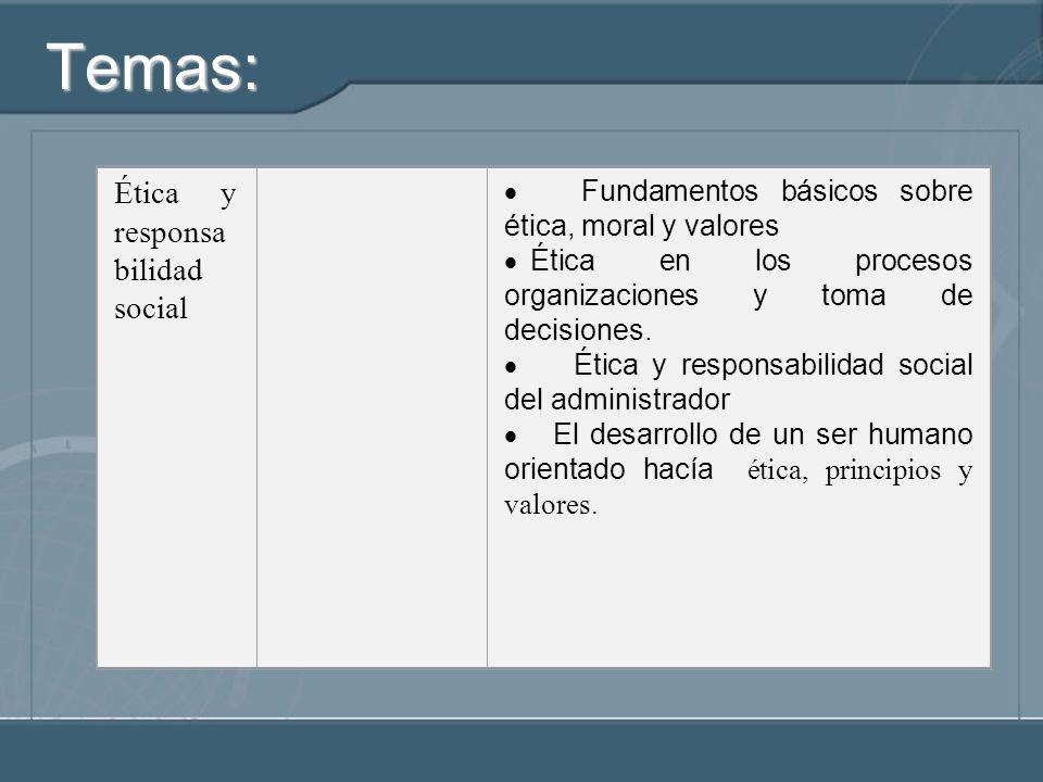 Temas: Ética y responsa bilidad social Fundamentos básicos sobre ética, moral y valores Ética en los procesos organizaciones y toma de decisiones. Éti