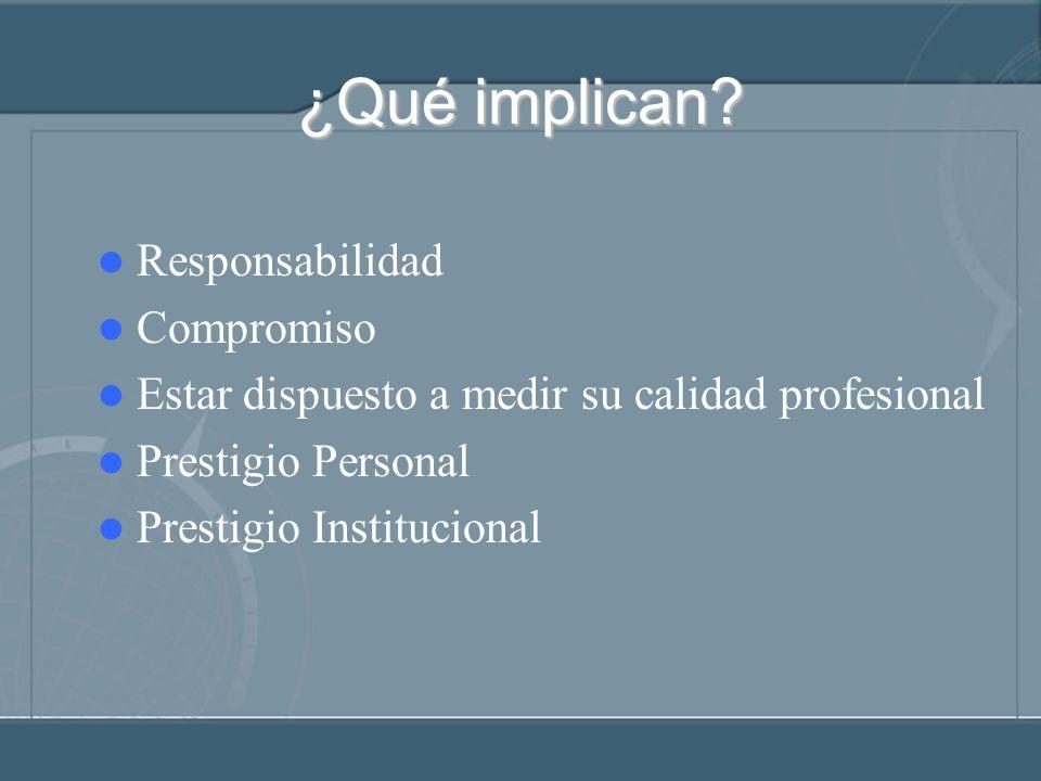 ¿Qué implican? Responsabilidad Compromiso Estar dispuesto a medir su calidad profesional Prestigio Personal Prestigio Institucional