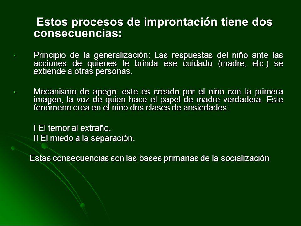 Estos procesos de improntación tiene dos consecuencias: Estos procesos de improntación tiene dos consecuencias: Principio de la generalización: Las re