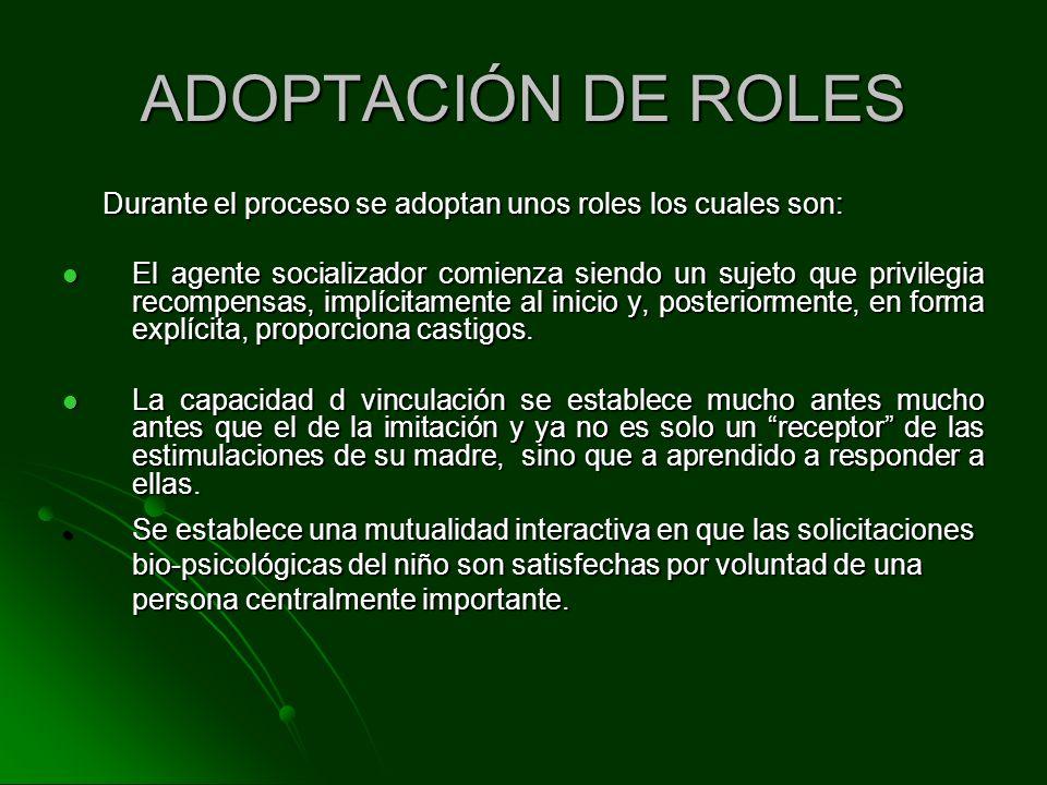 Durante el proceso se adoptan unos roles los cuales son: Durante el proceso se adoptan unos roles los cuales son: El agente socializador comienza sien