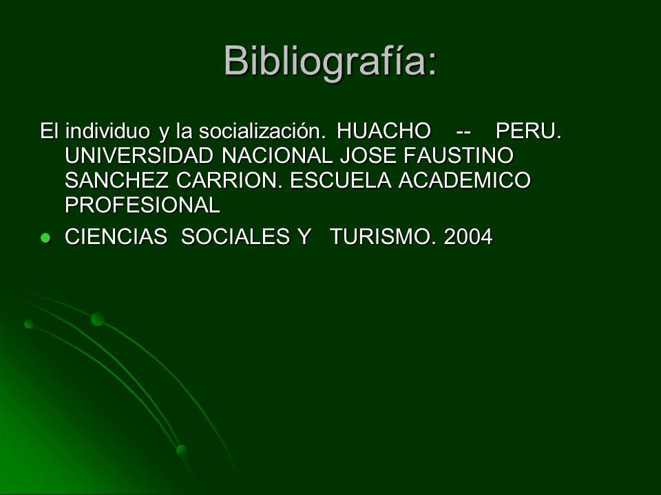 Bibliografía: El individuo y la socialización. HUACHO -- PERU. UNIVERSIDAD NACIONAL JOSE FAUSTINO SANCHEZ CARRION. ESCUELA ACADEMICO PROFESIONAL CIENC
