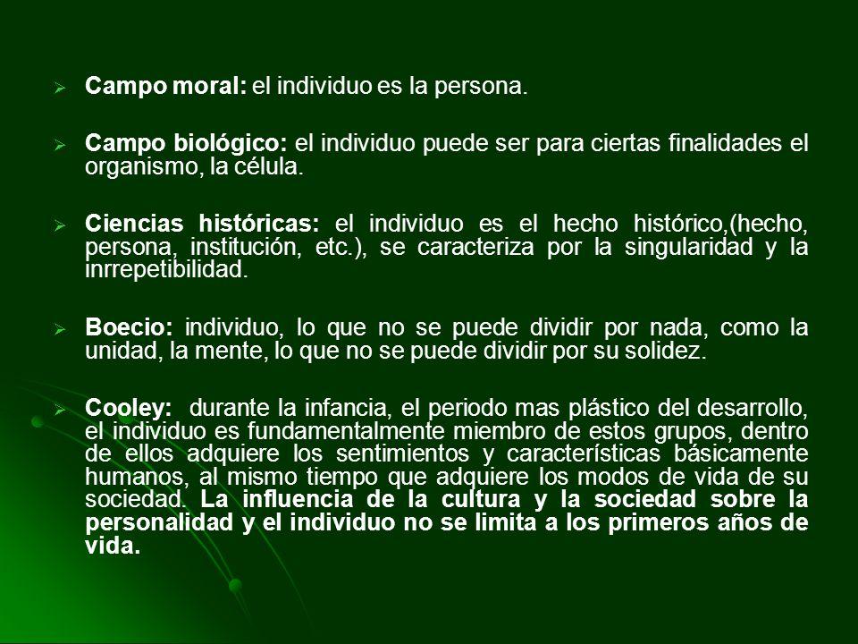 Campo moral: el individuo es la persona. Campo biológico: el individuo puede ser para ciertas finalidades el organismo, la célula. Ciencias históricas