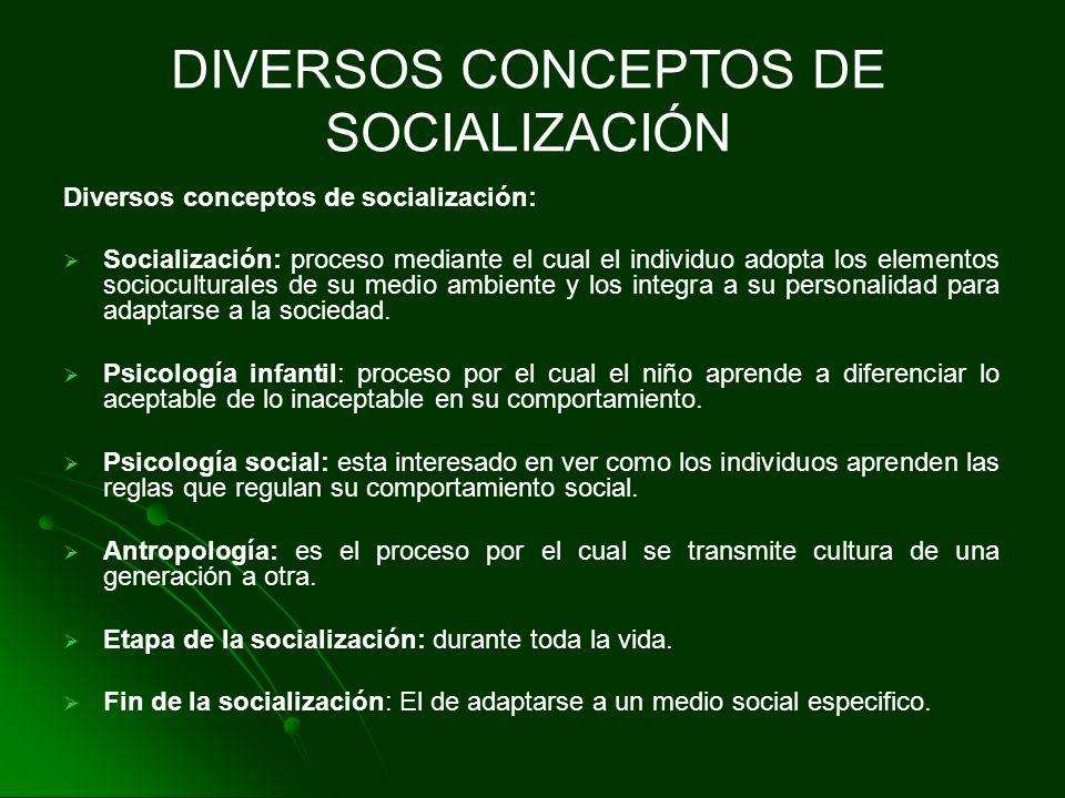 Diversos conceptos de socialización: Socialización: proceso mediante el cual el individuo adopta los elementos socioculturales de su medio ambiente y