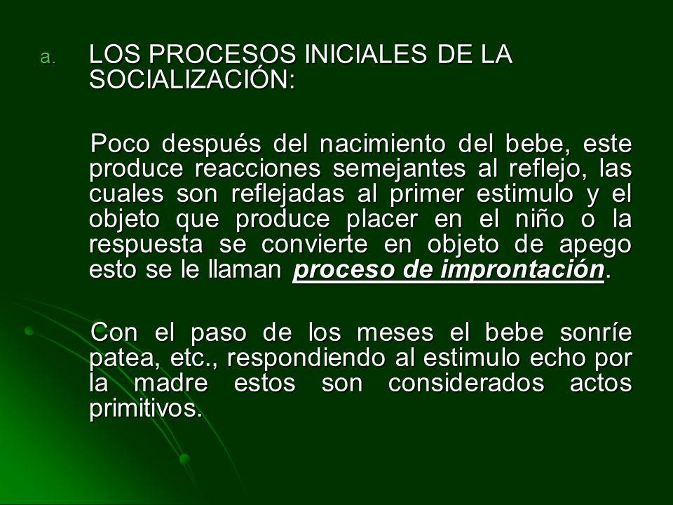 a. LOS PROCESOS INICIALES DE LA SOCIALIZACIÓN: Poco después del nacimiento del bebe, este produce reacciones semejantes al reflejo, las cuales son ref